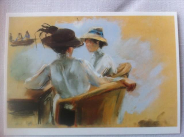 """Max Liebermann, Zwei Damen am Wasser (Studie zum Gemälde """"Abend am Uhlenhorster Fährhaus""""), 1910. Foto von einer Kunstpostkarte: nw2013"""