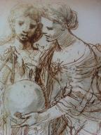 """Stefano della Bella, Ausschnitt aus """"Sechs Frauen als Allegorien der Wissenschaften"""", 1650er Jahre. Foto vom Ausstellungsflyer: nw2013"""