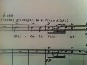 Notenbeispiel aus der Partitur des Troubadour Foto: nw2013