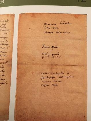 Marburger Religionsgespräch 1529, Unterschriften der teilnehmenden Reformatoren – aus dem besprochenen Band | Foto nw2017