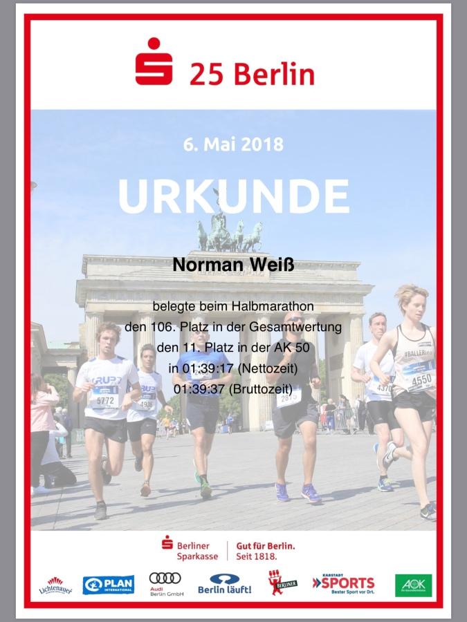 Urkunde S25 Berlin 2018 #running