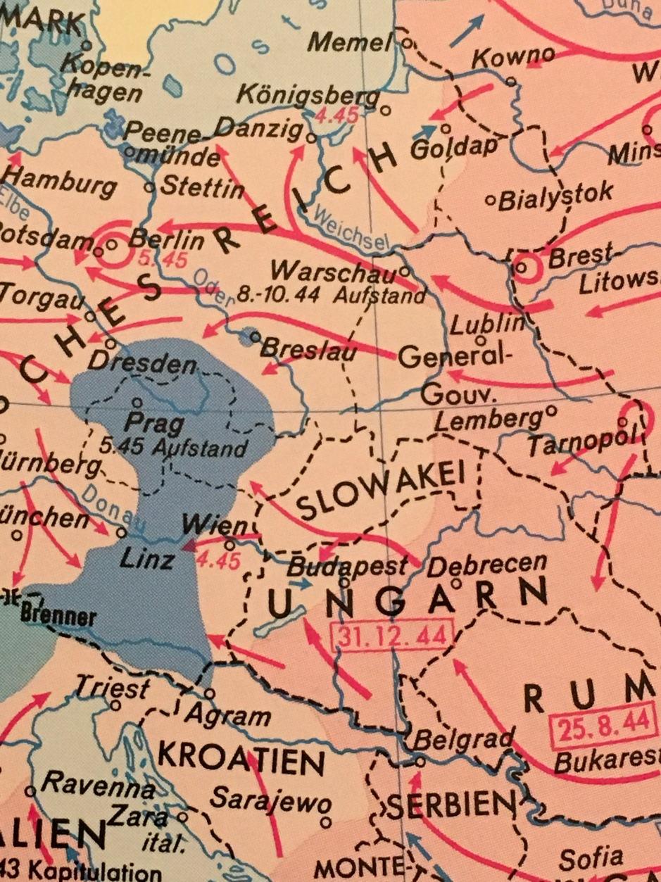 Endphase des Zweiten Weltkriegs in Mitteleuropa | Kartenausschnitt
